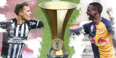 Fotomontage: Johannes Eggestein (LASK) und Patson Daka (RB Salzburg) mit dem ÖFB-Cup-Pokal
