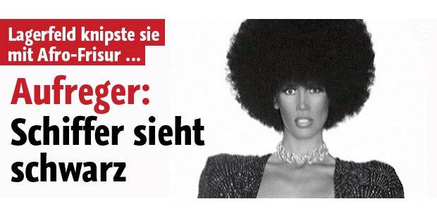 Claudia Schiffer verkleidet als Schwarze
