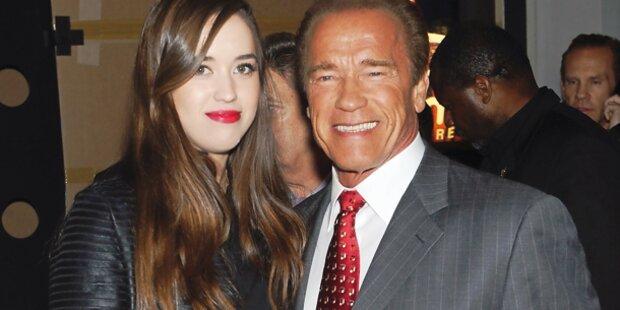 Arnie mit Tochter bei Premiere