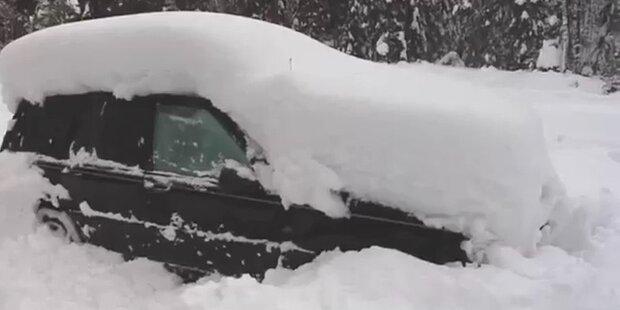 Schwede will zurück in sein Schnee-Auto