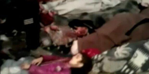 45 Frauen und Kinder erstochen und verbrannt