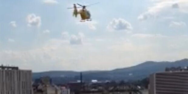 Hubschrauber-Landung am Westbahnhof