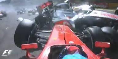 Formel 1: Horrorcrash beim Start in Belgien