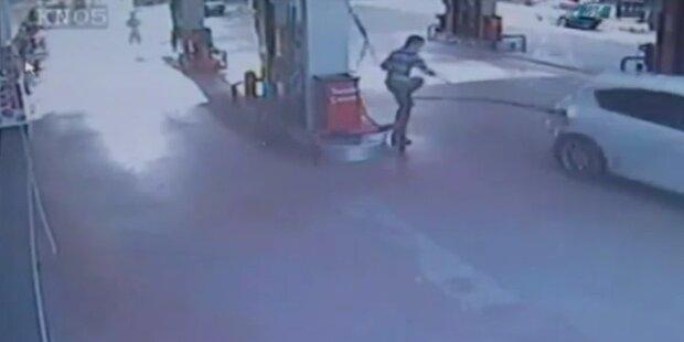 Brutale Flucht: Tankwart umgerissen