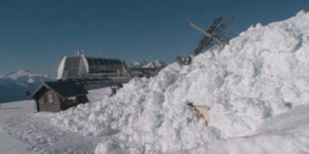 Lawine zerstört Ski-Lift in Frankreich