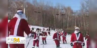 250 Santas machen Skipisten unsicher
