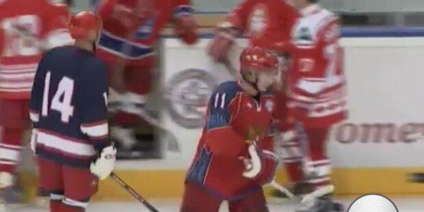 Putin trainiert mit Eishockey-Legenden