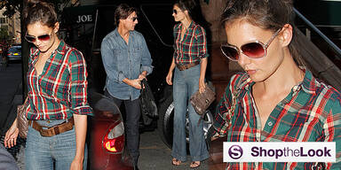 Shop the Look Katie Holmes Style Fashion Karohemd Jeans