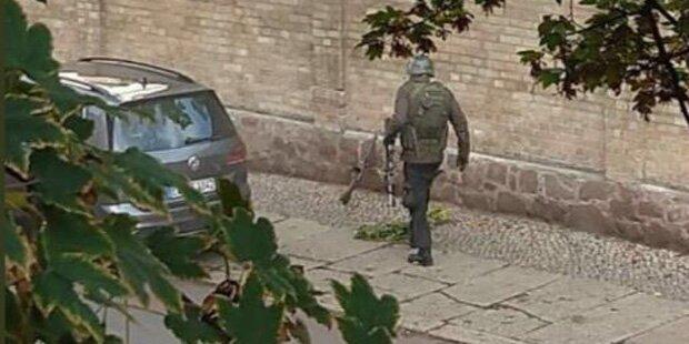 Täter trägt Bundeswehr-Uniform und Stahlhelm