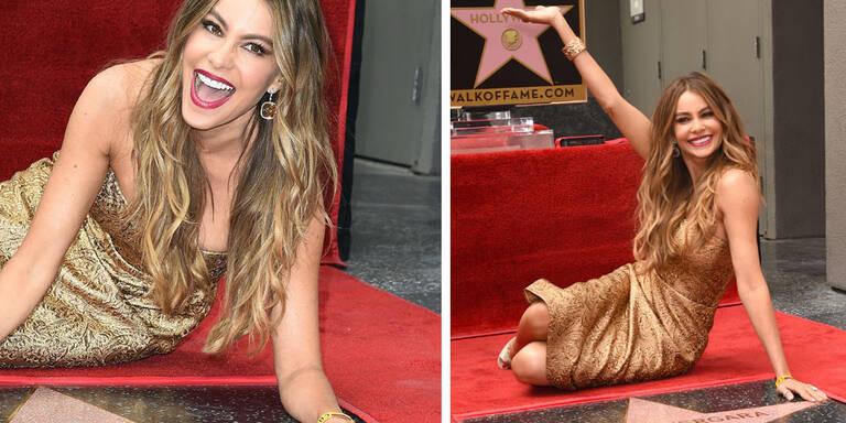 In ihrem goldenen Dress stahl Sofia Vergara ihrem eigenen Stern auf dem Walk of Fame die Show!