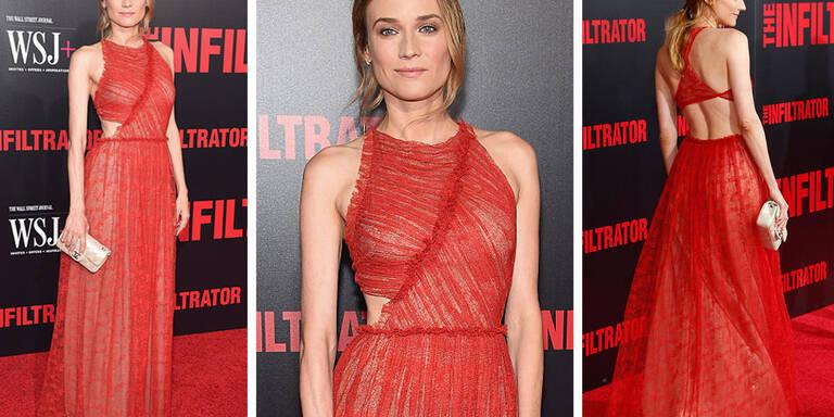 Diane Kruger bezaubert in einem Hauch von Rot