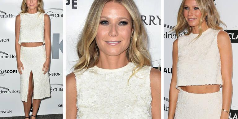 Gwyneth Paltrow begeistert in weißem Zweiteiler