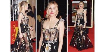 Sienna Miller strahlt in transparenter Robe