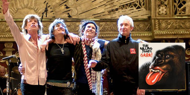 """Zehn Jahre nach """"Fourty Licks"""" bringen die Rolling Stones morgen, Freitag, eine weitere Werkschau in den Handel. """"Grrr!"""" enthält die Kronjuwelen der britischen Band, also die großen Hits und die wichtigen Klassiker. Außerdem gibt es wenigstens zwei neue, ordentliche Songs. Fans werden tiefer in die Taschen greifen müssen, denn Raritäten findet man nur in der hochpreisigen """"Super Deluxe Edition Box""""."""