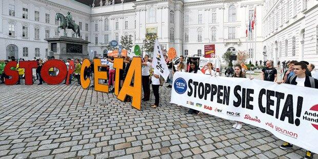 CETA: Demo und Attacken gegen FPÖ-Umfaller