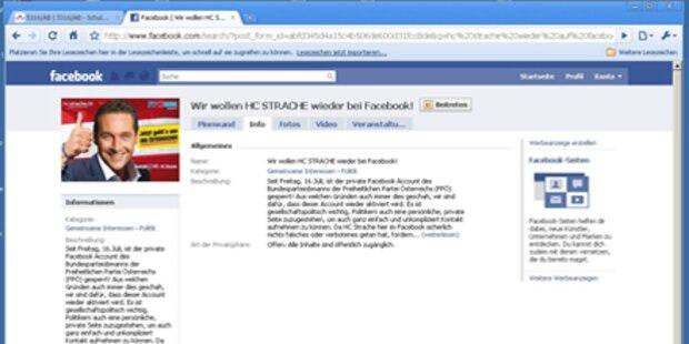 Strache ist wieder auf Facebook