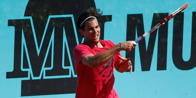 Tennis-Star Dominic Thiem beim Training in Madrid