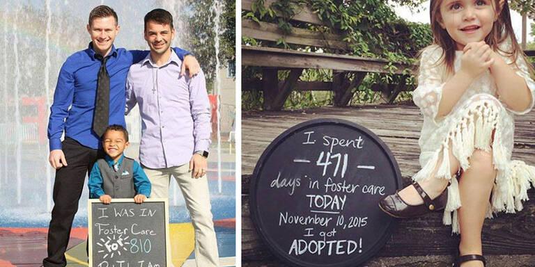"""Auf den Bildern zeigen Kinder und Familien, wie lange sie bei Pflegeeltern oder Heimen waern, bevor sie endlich adoptiert wurden zu zu ihren """"Für Immer Familien"""" durften."""