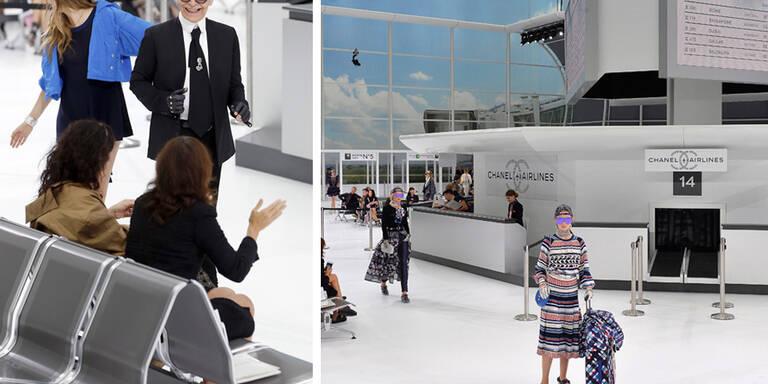 Karl checkt Models im Chanel-Terminal ein