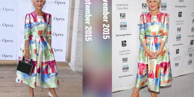 Bereits im September trug Dame Helen Mirren dieses kunterbunte Kleid von Dolce & Gabbana. Jetzt immer November kombinierte sie das selbe Kleid mit neuen Accessoires und sah dabei ebenso hinreißend aus.
