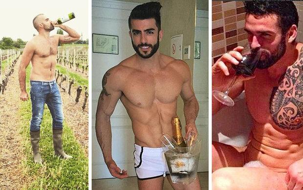 Heiße Männer mit Wein verschönern Instagram