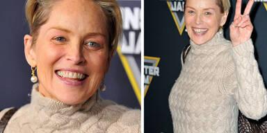 Sharon Stone fast ohne Make-Up