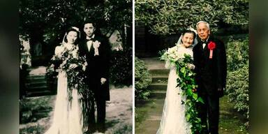 98-jähriges Pärchen stellt Hochzeitsfotos nach