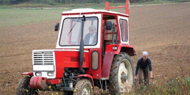 Arbeiter stürzte mit Traktor 30 Meter ab