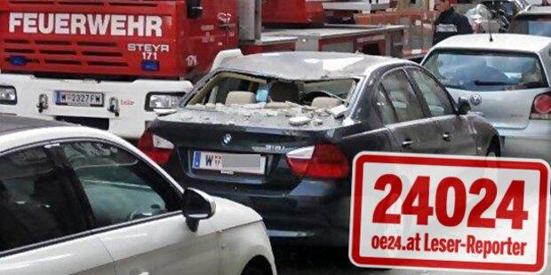 Fassadenteile krachen auf Luxus-BMW