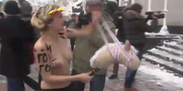 Prügel und Nacktproteste in der Ukraine