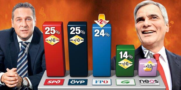 FPO stürzt ab, SPO und OVP wieder Platz 1