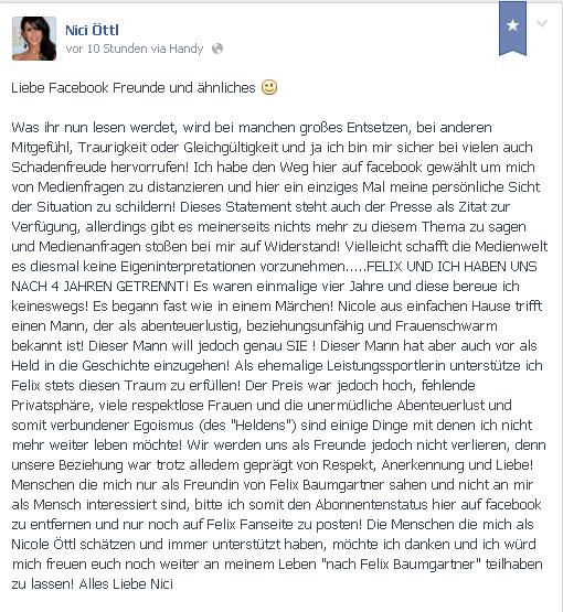 Nicole Öttl gibt Trennung von Felix Baumgartner auf Facebook bekannt