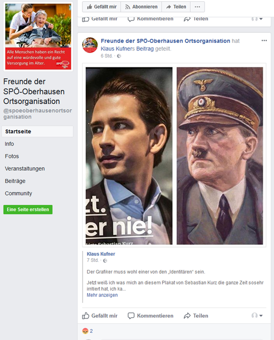Kurz Hitoler Vergleich SPÖ