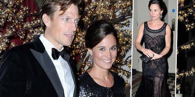 """Was für ein Anblick: Pippa Middleton kam zum """"Sugarplum Ball"""" in London im sexy schwarzen Spitzenkleid, dazu schmückte sie sich mit prächtigen Ohrgehängen. Doch ihr schönstes Accessoire war ein strahlendes Lächeln. Und das verdankt sie dem feschen Mann an ihrer Seite: Sie kam mit ihrem Freund Nico Jackson zu der Charity-Veranstaltung."""
