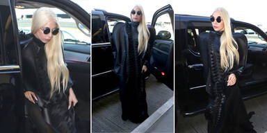 Lady Gaga im Mega-Lederkleid auf Reise