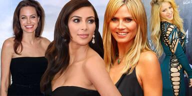 Angelina Jolie, Kim Kardashian, Heidi Klum, Shakira