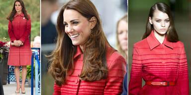Herzogin Kate liebt rote Mäntel