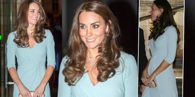 Herzogin Kate strahlend schön mit Minibauch