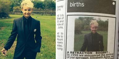 Mutter berichtigt Geburtsanzeige