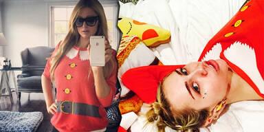 Miley Cyrus & Paris Hilton: Gleicher Weihnachtspulli