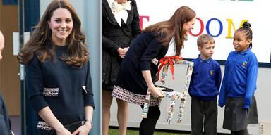 Die schwangere Herzogin Kate begeisterte Schüler in Ladbroke Grove, als sie ihnen einen Besuch abstattete: Im lockeren Kleidchen nahm sie an der Taufe des Kunstraums statt.