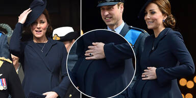 Herzogin Kate mit William und Harry bei Gedenkfeier