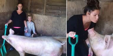 Katie Price im Schweinestall