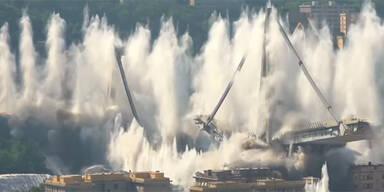 Unglücksbrücke in Genua: Letzte Pfeiler gesprengt