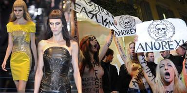 Proteste bei Versace-Show