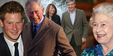 Prinz Harry, Prinz Charles, Queen Elizabeth II., Carole & Michael Middleton
