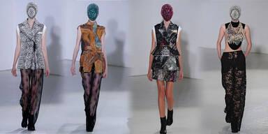 Couture mit Spitzen-Hosen und Lagenlooks.