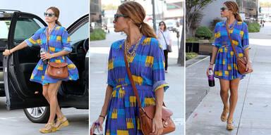 Eva Mendes zeigt, wie man Hemdkleider trägt