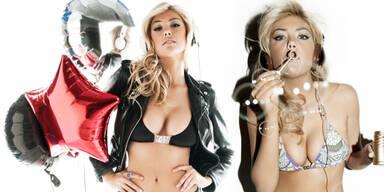 Auch für Kopfhörer modelt sie im Bikini