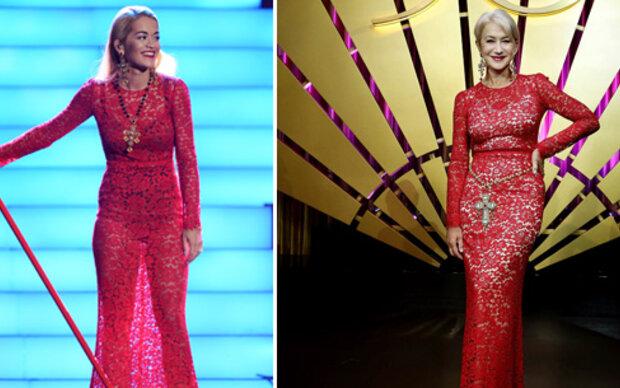 Helen Mirren & Rita Ora im gleichen D&G-Kleid